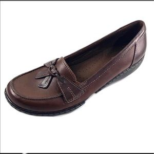 Clarks Womans 15260 Brown Leather Loafer 9M